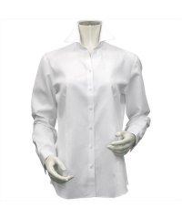 ウィメンズシャツ長袖形態安定 スキッパー衿 白系(透け防止)
