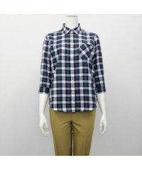 ウィメンズシャツシャツ 七分袖 形態安定 Wガーゼ レギュラー衿 サックス