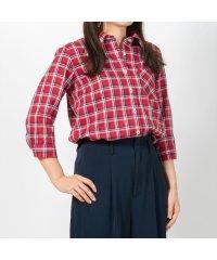 ウィメンズシャツシャツ 七分袖 形態安定 Wガーゼ レギュラー衿 チェック
