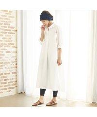ウィメンズシャツ 八分袖 オープン衿タックシャツワンピース  オフホワイト