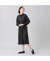 ウィメンズシャツ 長袖 ワイド衿 ロングシャツワンピース 黒×無地調