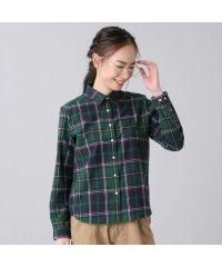 ウィメンズシャツ カジュアルシャツ 長袖 レギュラー衿 グリーン系チェック