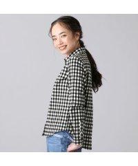 ウィメンズシャツ カジュアルシャツ 長袖 レギュラー衿 黒×白チェック