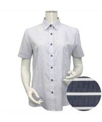 ウィメンズシャツ半袖形態安定 レギュラー衿 ネイビー系
