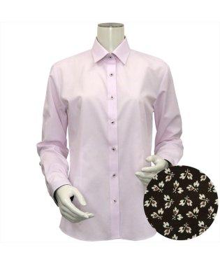 レディース ウィメンズシャツ 長袖 形態安定 レギュラー衿 ピンク×ストライプ織柄