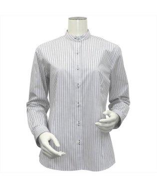 レディース ウィメンズシャツ 長袖 形態安定 スタンド衿 白×グレー、黒ストライプ