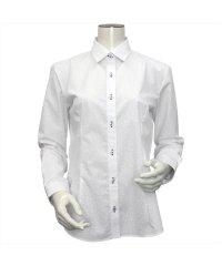 ウィメンズシャツ 長袖 形態安定 レギュラー衿 白×小花柄プリント