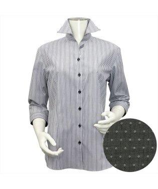 レディース ウィメンズシャツ 七分袖 形態安定 スキッパー衿 白×黒、グレーストライプ