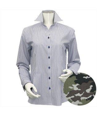 レディース ウィメンズシャツ 長袖 形態安定 スキッパー衿 白×ネイビーストライプ
