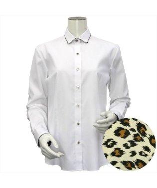 レディース ウィメンズシャツ 長袖 形態安定 パイピング風 ワイド衿 白×ストライプ織柄(透け防止)