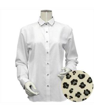 レディース ウィメンズシャツ 長袖 形態安定 パイピング風 ワイド衿 白×チェック織柄(透け防止)