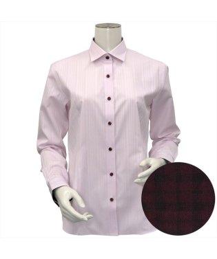 レディース ウィメンズシャツ 長袖 形態安定 HOT-2 ワイド衿 ピンク×ストライプ織柄