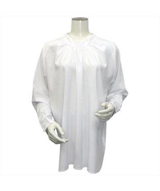 レディース ウィメンズ 長袖 形態安定 ブラウス 2Way スタンド衿  白×ストライプ織柄