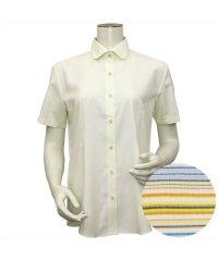 ウィメンズシャツ半袖形態安定 ラウンド衿 イエロー系(透け防止)
