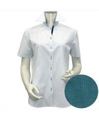 ウィメンズシャツ半袖形態安定 スキッパー衿 グリーン系(透け防止)