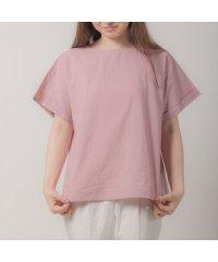 ウィメンズシャツ 半袖 布帛ドッキングブラウス 綿100% ピンク