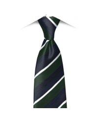ネクタイビジネス 日本製 絹100% グリーン系 ストライプ柄