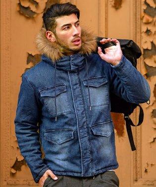 CavariA【キャバリア】 メンズ 2WAY ファー付き ダブルジップ デニム 中綿ジャケット