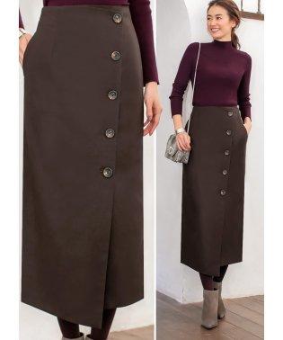 ウール調セミロングラップスカート