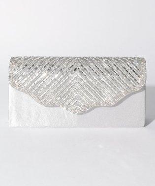 ストーンデザインフラップパーティークラッチバッグ
