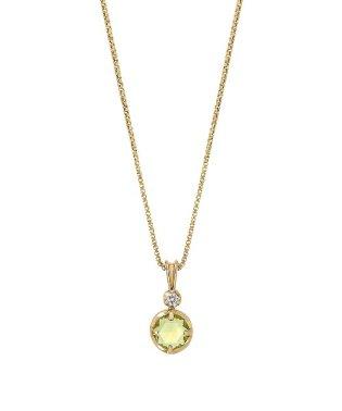 [星座石ジュエリー]K10ペリドットダイヤモンドネックレス