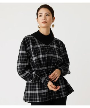 PEPLUM CHECK BLOUSE