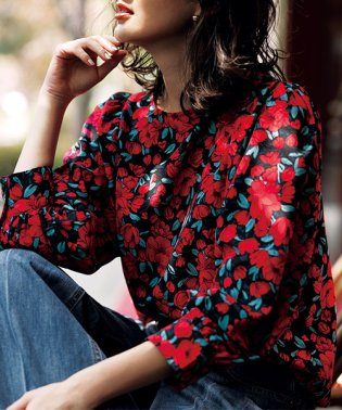 花柄プリントボリューム袖ブラウス