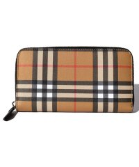 【BURBERRY】Vintage Check&Leather Lg Zig Large Zip Around Wallet