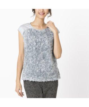 シフォンフラワー刺繍 フレンチスリーブTシャツ