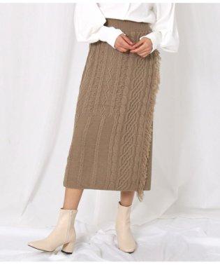 ケーブル編みラップタイトスカート
