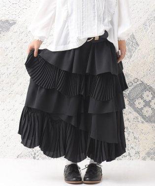 『somari異素材プリーツMIXティアードスカート』