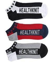 Healthknit(ヘルスニット)ベルトロゴソックス3足セット/靴下 ソックス メンズ くつした くるぶし ショートソックス ベルトロゴ