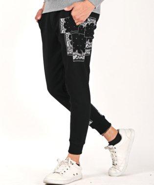 ペイズリープリントスウェットパンツ/スウェットパンツ メンズ 裏起毛 プリント ロゴ ジョガーパンツ ビター系 BITTER