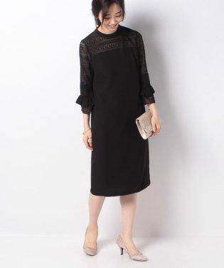 【ドレスライン】7分袖レース切り替えドレス