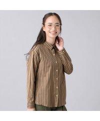ウィメンズシャツ カジュアル長袖 ゆったりシャツ レギュラー衿 キャメル