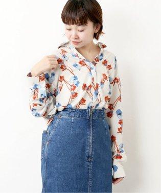 《WEB限定》JS+eジョーゼットフラワーシャツ◆