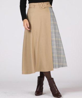 【大きいサイズ】サイドチェックプリントラップモチーフスカート