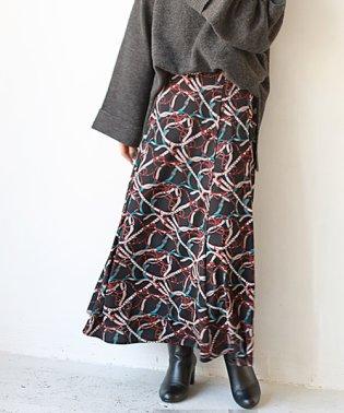 スカーフ柄フレアスカート