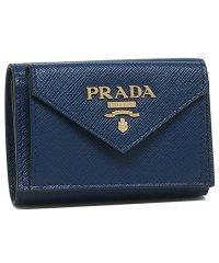 プラダ 財布 PRADA 1MH021 2E3K F0016 SAFFIANO LETTER サフィアーノ ミニ財布 レディース 三つ折り財布 無地 BLUET
