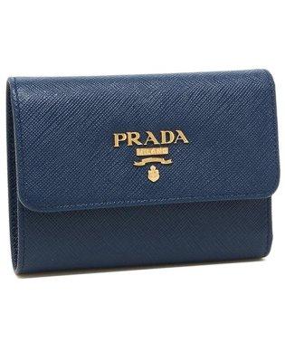 プラダ 財布 PRADA 1MH025 QWA F0016 SAFFIANO METAL ORO サフィアーノ ミニ財布 レディース 三つ折り財布 無地 BLU