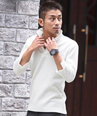 イタリアンカラー七分袖ポロシャツ/イタリアンカラー ポロシャツ メンズ 7分袖 ジャガード BITTER ビター系