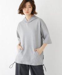 ダブルフェイス 裾ドローコード 半袖 パーカー