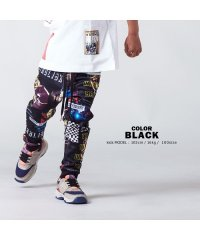 【 コラージュプリントリブパンツ 】 パンツ ジョガーパンツ スリムパンツ ジャージ スウェットパンツ メンズ レディース キッズ 韓国ファッション ペアルック