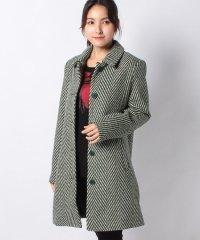 ジグザグデザイン 緑色ウール混紡コート