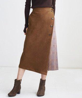 ラップ風チェック配色スカート