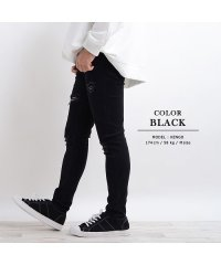 ダメージジーンズ ダメージデニム  メンズ レディース 韓国 ファッション ブラック スキニー パンツ スキニーデニム スキニージーンズ ハードダメージ ジーン
