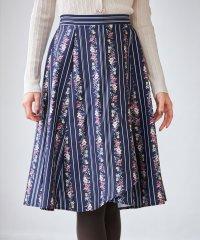 マルチストライプ×フラワープリントラップスカート
