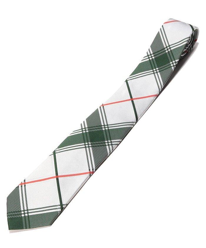 (Orobianco(Necktie)/オロビアンコ ネクタイ)ビックチェック クレリックタイ ロゴ入り/メンズ GREEN