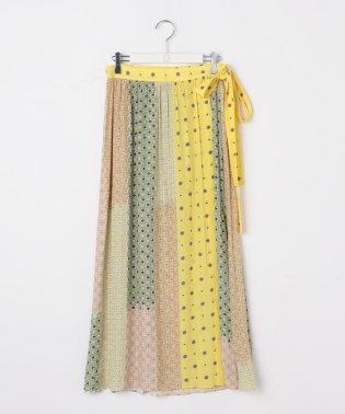 小紋プリントギャザーラップスカート