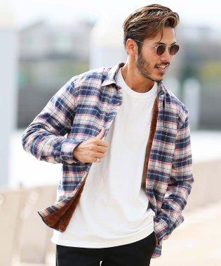 裏ボアチェックシャツ / 長袖 シャツ メンズ カジュアルシャツ チェックシャツ ボア